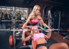 Beautiful girls in fitness club